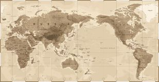 World Map Physical Vintage - Asia in Center - China, Korea, Japan.  Royalty Free Stock Photos