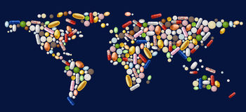 World map of pills Stock Photography