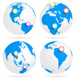 World with map pin Royalty Free Stock Photo