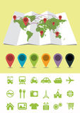 World Map with Pins and icons Royalty Free Stock Photography