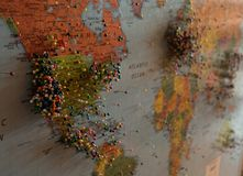 World map with pins royalty free stock image