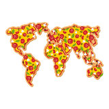 World Map pizza. Continents of planet earth fast food. Geography Royalty Free Stock Images
