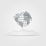 World map placed on a podium Illustration background gray Royalty Free Stock Image