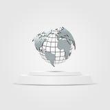 World map placed on a podium Illustration background gray. Vector world map placed on a podium Illustration background gray Royalty Free Stock Image