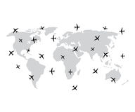 World map and plane or aircraft in vector Royalty Free Stock Photos