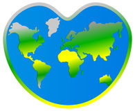 World map planet Earth in heart Stock Photos