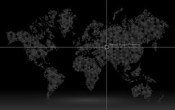 World map of planet earth, pointer of coordinate detection. Royalty Free Stock Photos