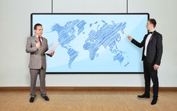 World map on plasma panel Stock Photography