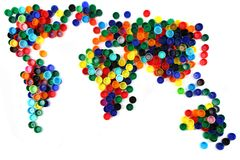 World map from plastic caps Stock Image