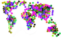 World map from plastic caps Royalty Free Stock Photography