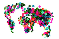 world map from plastic caps Royalty Free Stock Photos