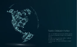 World Map Point. North America. Vector Illustration. Composition, Representing The Global Network Connection Stock Photo