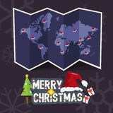 World map with point of santa clause hat come with merry christm. As letters design. christmas concept -  illustration Stock Image