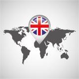 World map with pointer flag england Stock Photos