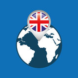 World map with pointer flag england Royalty Free Stock Photo