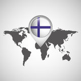 World map with pointer flag finland. Vector illustration eps 10 Royalty Free Stock Images