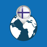 World map with pointer flag finland. Vector illustration eps 10 Royalty Free Stock Photography