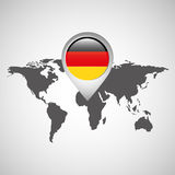 World map with pointer flag germany Stock Image