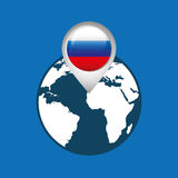 World map with pointer flag russian Stock Photo
