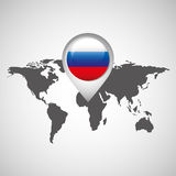 World map with pointer flag russian Stock Images