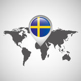 World map with pointer flag sweden Royalty Free Stock Images