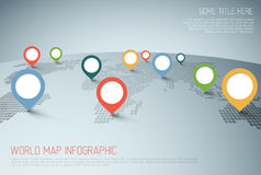 World map with pointer marks Stock Photo