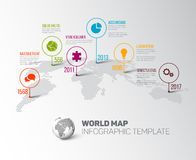 World map with pointer marks and icons Stock Images