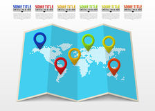 World map with pointer marks. Infographic template Royalty Free Stock Photography
