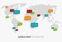 World map with pointer marks. Light World map with pointer marks -  communication concept Stock Images