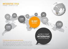 World map with pointer marks. Light World map with simple pointer marks (speech bubbles) -  minimalist black and white infographics concept Stock Images