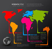 World map with pointer marks. World thin line map infographic template with pointer marks - dark version Royalty Free Stock Photography