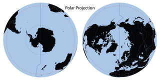 World Map Polar Projection stock images