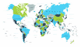 World Map Political Blue Green Brown Vector. Illustration Royalty Free Stock Photography
