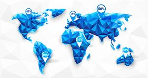World map poly. World map abstract geometric shapes, polygonal graphic. Vector illustration stock illustration