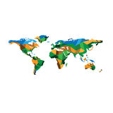 World map polygon geographic color Royalty Free Stock Photo