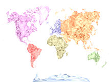 World map in polygonal style, colored by continents Stock Photo