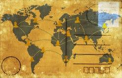 World map postcard. World map on old postcard ,retro style royalty free illustration