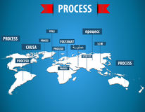 World map with process label in different languages Stock Image