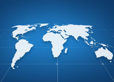 World map projection over blue background Stock Image