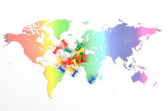 World map and pushpin Royalty Free Stock Photography