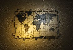 World map on puzzle Royalty Free Stock Images