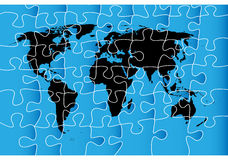 World map puzzle. Isolated objects over white background Stock Image