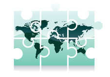 World map puzzle icon Stock Image