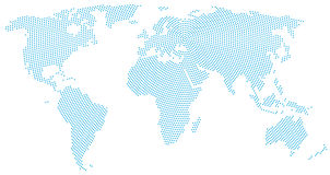 World map radial dot pattern Royalty Free Stock Images
