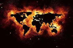 World Map Realistic Burning Fire Flames on Black. Realistic world map burning fire flames with sparks and smoke, explosion effect on black background Stock Photo