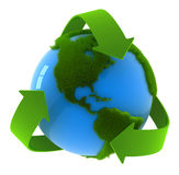 World map with recycle symbol Royalty Free Stock Photos