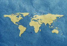 World map recycled paper craft. Tag recycled paper craft stick on white background. Data source: NASA Royalty Free Stock Image