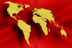 World map in Red. Illustration Royalty Free Stock Photos