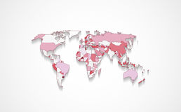 World map in red color. Design of world map with states in different colors with flat shadow Royalty Free Stock Photo