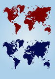 World map. Red map of the continents royalty free illustration